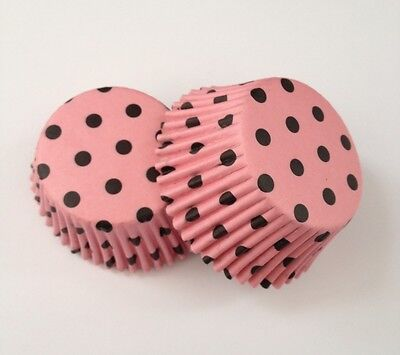 Pink Black Polka Dot Party Cupcake Liner Baking Cup 50 count Standard Size](Pink And Black Cupcake Liners)