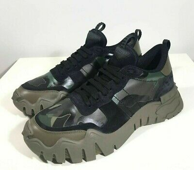 Brand-new Men's Valentino Garavani Green Camou Rockrunner Plus Sneakers in US 12