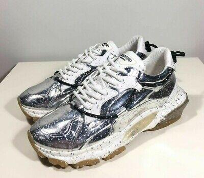 Brand-new Men's Valentino Silver Splash Effect Bounce Sneakers in US9.5/Euro42.5