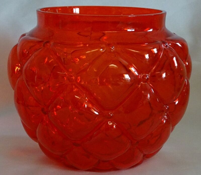 Consolidated Glass USA Pigeon Blood Quilted Jar