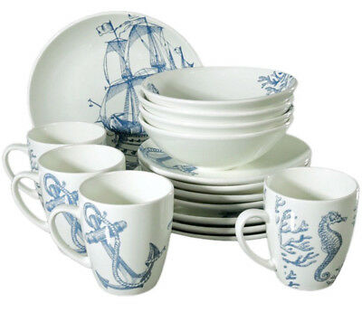 16 Piece Faience Dinnerware Set for 4 persons w/ Nautical Art. Dinner Service ()