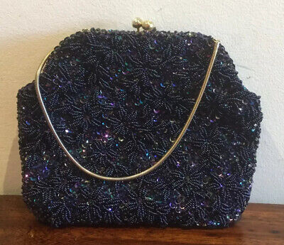 1950s Handbags, Purses, and Evening Bag Styles Stunning Vintage 1950s Handmade Beaded Handbag Vg Condition $65.85 AT vintagedancer.com