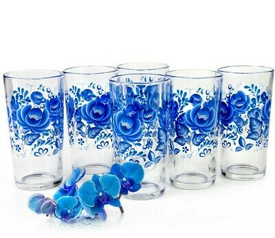 6 Tall Drinking Glasses with Blue Flowers Decal 8 fl oz ea Made in Russia Gzhel - Blue Glasses Drinking