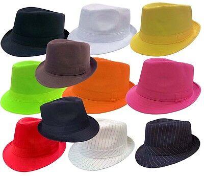 FEDORA TRILBY GANGSTER FEDORA BUCKET HAT MEN WOMEN SOLID - Gangster Fedora Hats For Men