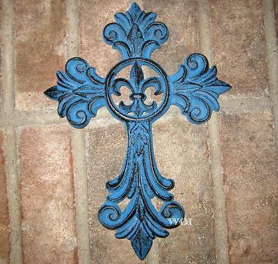 Blue Metal Rustic Cast Iron Fleur De Lis Emblem Christ Cross Hanging Wall Plaque ()