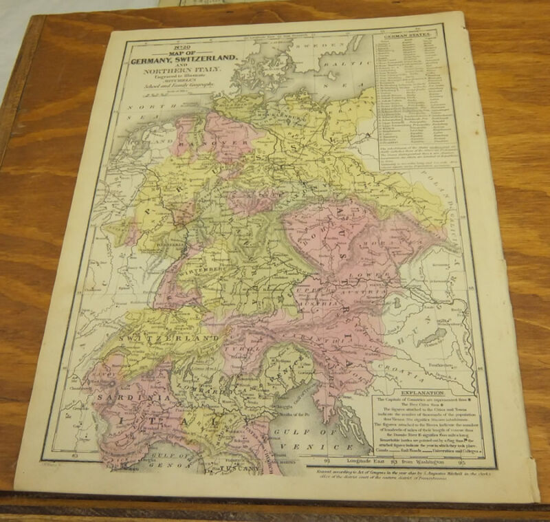 1840 COLOR Mitchell Map/GERMANY, AUSTRIA, SWITZERLAND, LUXEMBOURG,NORTHERN ITALY