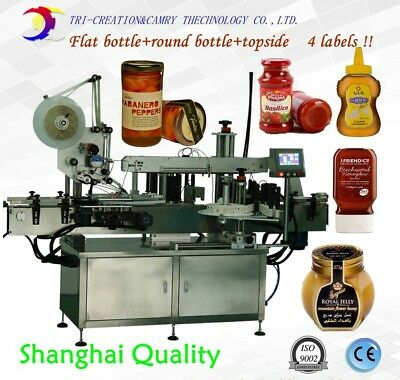 Double Sides And Topside Labeling Machineautomatic Flat Round Bottle Labeling