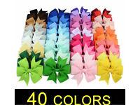 40 Peice 40 Colours Girls Hand Made Bow Hair Clip Alligator Clip Girls Ribbon Clip