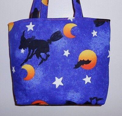 Handmade Halloween Witch on a broom Moon Bats Stars Tote Purse Bag (Halloween Broom Bags)