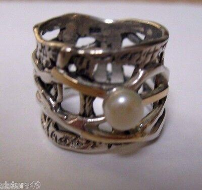 Vintage Ring Modernist Brutalist Pearl 14K Sterling Silver Artist Made Wide Band