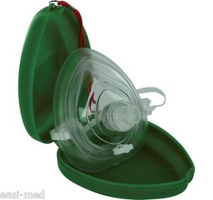 Hypaguard CPR Rescue Face Mask Resuscitator in Green Hard Case & Carry Strap