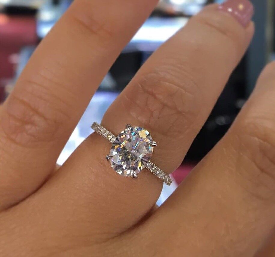 2.50 Ct Oval Cut Natural Diamond Engagement Ring w/ Matching Band F,VS1 GIA PLAT 4
