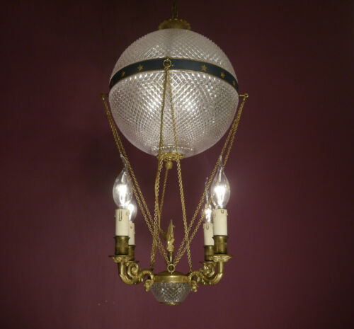 "RARE BALLON BRASS CHANDELIER OLD FRENCH GLASS 5 LIGHTS HOME DECOR LAMP Ø 10"""