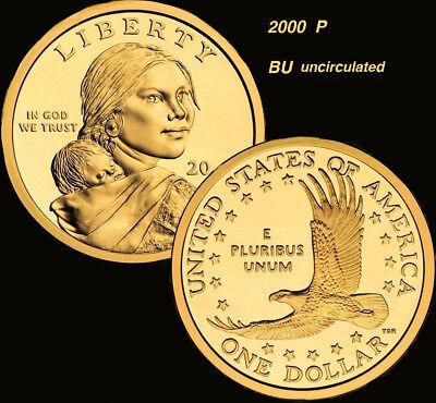 2000 P Sacagawea Dollar US Mint Coin Brilliant uncirculated condition  - 2000 Dollar Coins