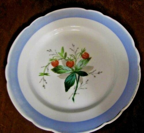 """Cabinet Plate 8 1/2"""" With Hand Painted Strawberries & Blue Rim ##"""