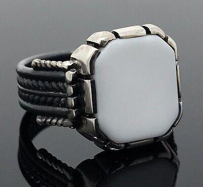 .925 Sterling Silver White Onyx Elegant Design Men's Ring K41U-Best Gift for