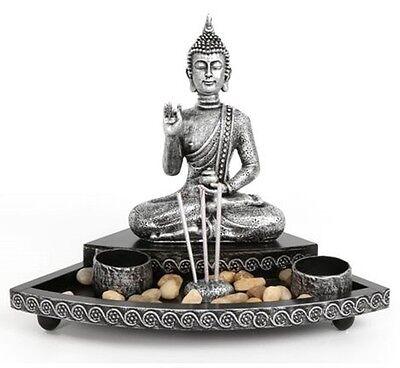 Meditating Buddha Incense & Tea Light Candle Holder Stand Garden Ornament Gift