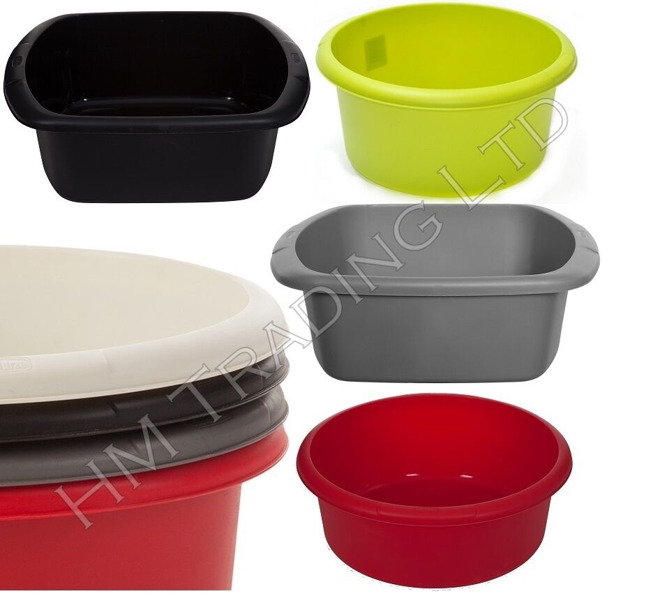 Plastic Small & Large Round / Rectangular Washing Up Bowl Basin Sink ...