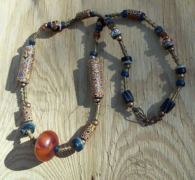 Antique Simulated Copal Amber & Venetian Glass Millefiore Trade Bead Necklace