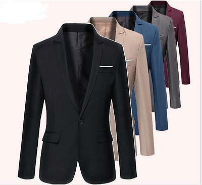 Best Mens Slim Fit One Button Formal Blazers Business Dress Tuxedo Jacket (Best Slim Fit Blazers)