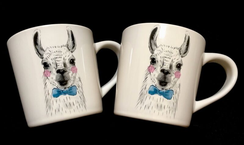 Set of 2 LARGE COFFEE MUG LLAMA Sir Blue Bow Tie hot chocolate Magenta