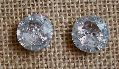 Pair of Vintage Wepra Clear Crystal Jewel 2-Hole Buttons 5/8 In. (15MM)