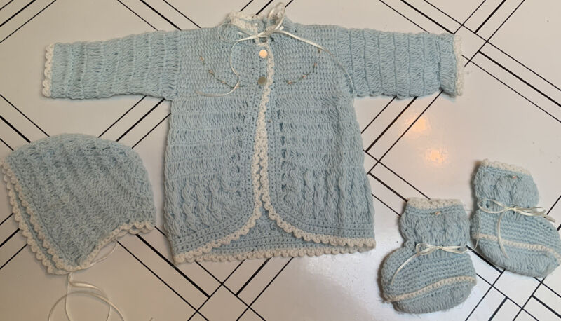 Vintage baby sweater cap/bonnet bootie set Handmade Blue With Small Roses 1960's