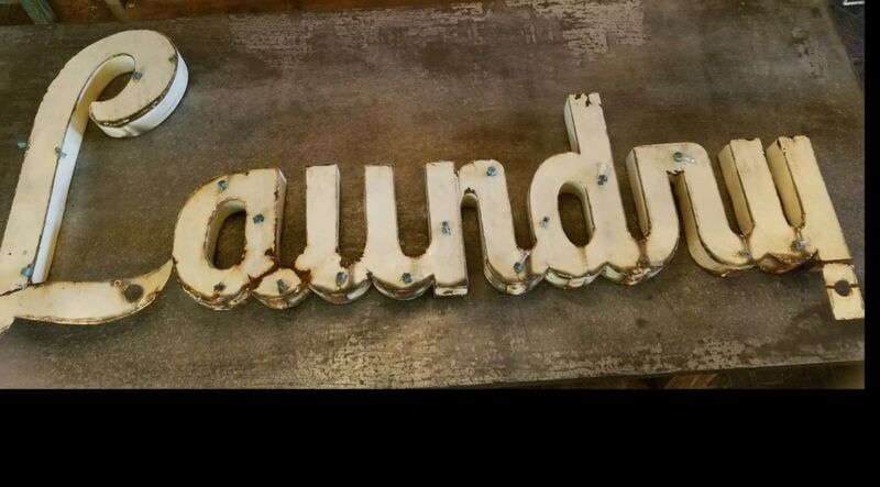 Antique American Trade Sign Laundry c.1940 Advertising Typography