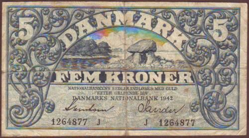 DENMARK  5 Kroner  1942    Prefix J