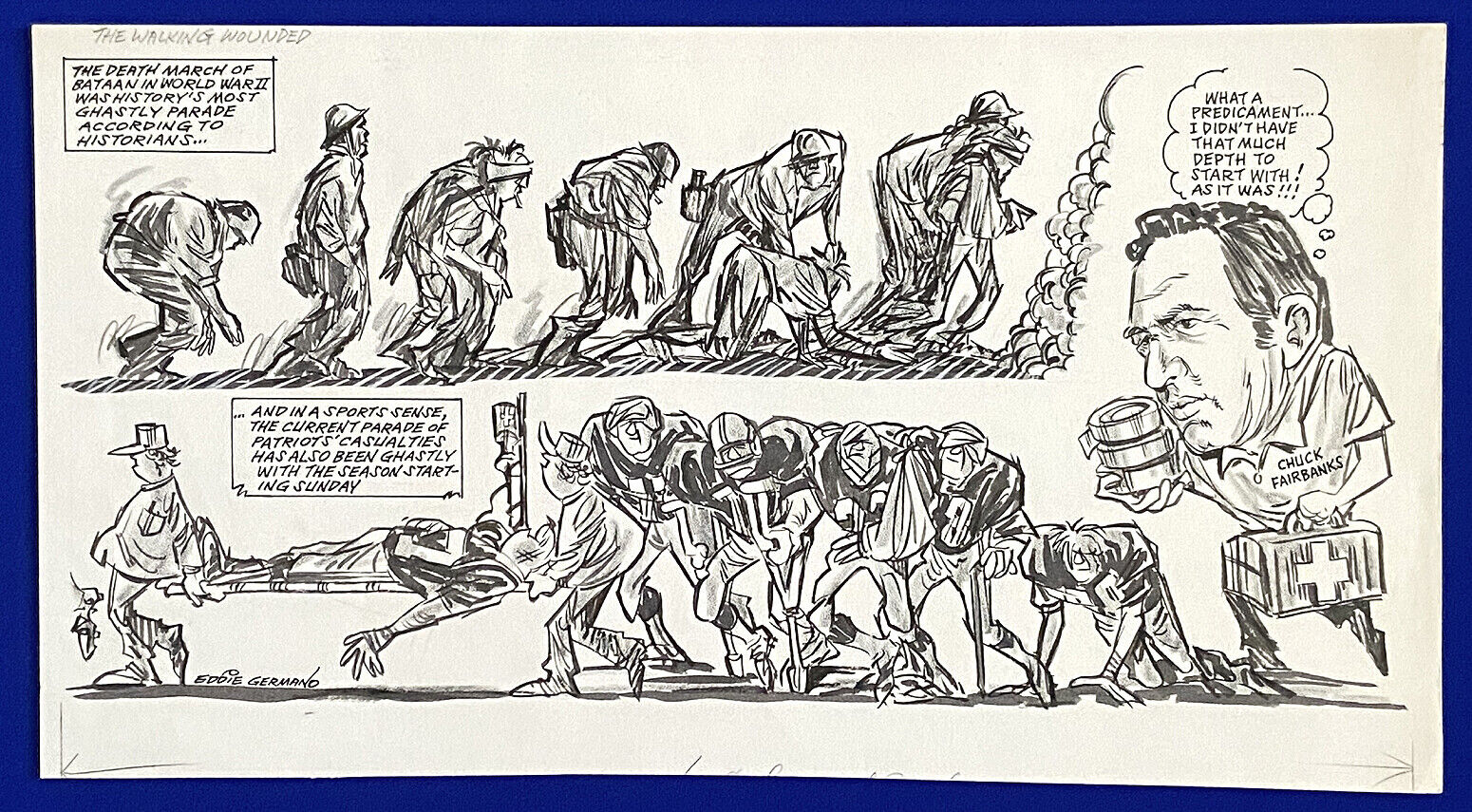 """1970s wwii patriots chuck fairbanks """"the walking wounded"""" 12x22 original cartoon"""