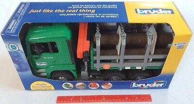 Bruder 02769 Man Timber Truck w/ Loading Crane & 3 Tree Trunks 1:16 Scale 4+ (Tree Trunk Load)