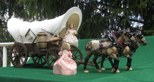 "Vintage Handmade Model Wooden Conestoga / Covered Wagon 24"" L Great for Hitty"