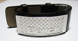 Genuine Bench Jewellery. New Mens Cuff Bracelet Black Faux Leather. Silver Plate