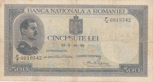 ROMANIA 500 LEI 1939 VF OVERPRINT