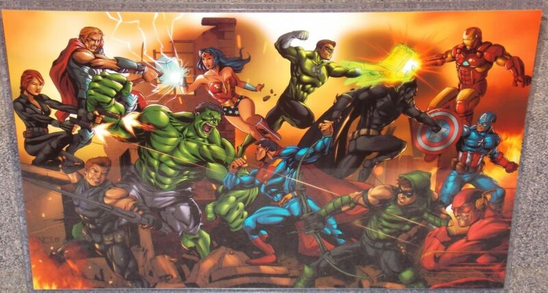 The Justice League vs The Avengers Glossy Print 11 x 17 In Hard Plastic Sleeve
