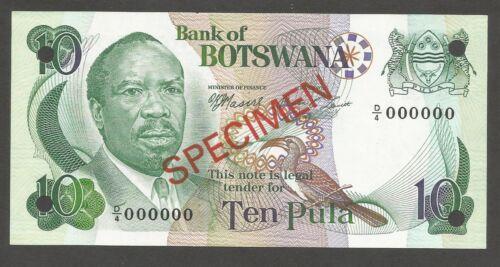 Botswana 10 Pula N.D. (1976); UNC; P-4s2, L-B104bs; SPECIMEN; National Assembly