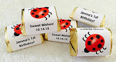 120 LADYBUG NUGGET CANDY WRAPPERS/LABELS PERSONALIZED for birthday party FAVORS (Ladybug Candy)