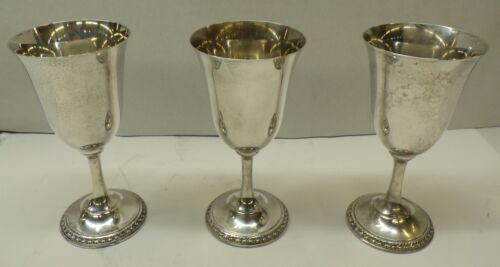 REED AND BARTON, WATER GOBLET, 4050, SILVERPLATE, **LOT OF 3**