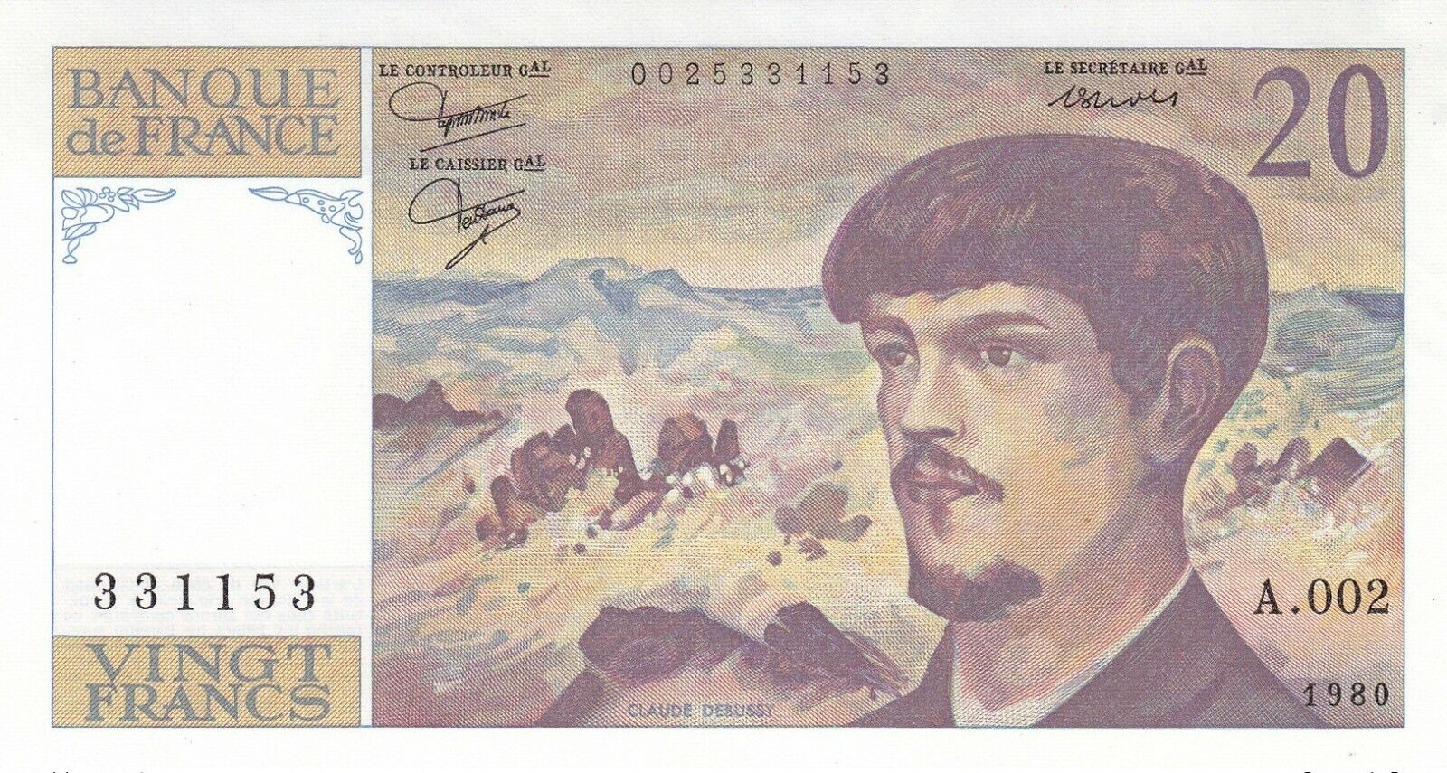RECTO 20 francs Type 1980 Debussy - None