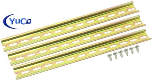"(3) 16"" STEEL SLOTTED DIN RAIL 35mm X 7.5mm PR005 ASI RoHS W. Mounting Screws"