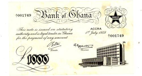 Ghana ... P-4 ... 1000 Pounds ... 1958 ... Choice (~)*AU*.