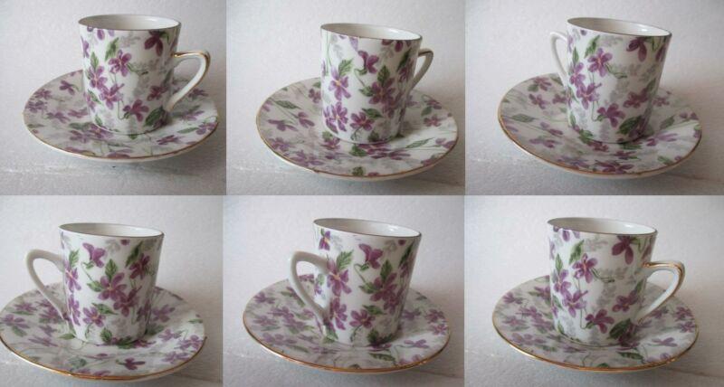 6 Vintage Inarco Demitasse Cups & Saucers Violets, NOS E-5872 Japan