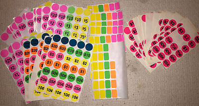 32 Sheets Pre-priced Yardgarage Sale Price Sticker Labels Blank Flea Market