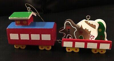 Wood Train Christmas Ornament Set Vintage Holiday Trains