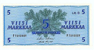 """Finland ... P-106A ... 5 Markkaa ... 1963 ... CH*UNC*  Litt. B-Prefix  """"F""""."""