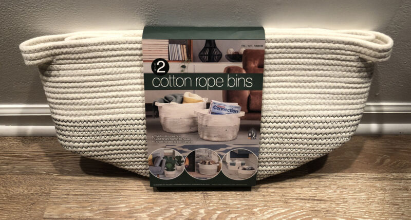 """Cotton Rope Bins, Set of 2 - Large 15""""x11""""  Small 12""""x9"""" -New in Package"""
