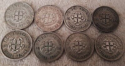George VI Three Pence 1937-1944 Full Year Run 8 Silver Coins Set Lot 2