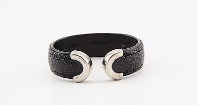VTG Industria Argentina 925 silver buckle black Lizard leather cuff bracelet