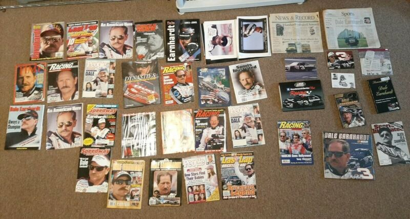 (BC)  DALE EARNHARDT Huge Lot of 35 Nascar Magazines Newspapers Books Calendar