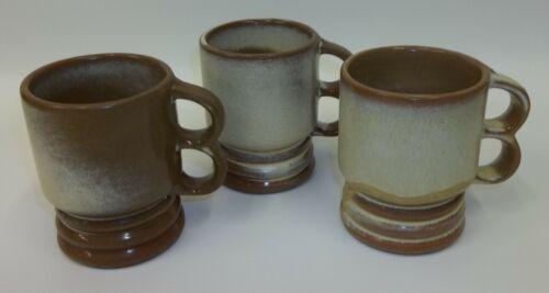 3 Vintage Frankoma C11 Large Desert Gold Brown Double Finger Hole Mugs